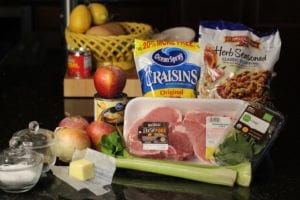 Ingredients for Apple & Cranberry Stuffed Pork Loin Chops